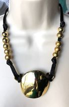 ROBERT LEE MORRIS Brass Pendant Black Cord Necklace with Beads-signed RL... - £58.88 GBP