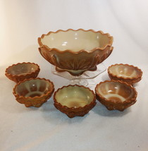 Chocolate Glass Berry Set 6pc 8in Bowl + 5 Sm Agave Cactus Indiana Tumbl... - $44.85