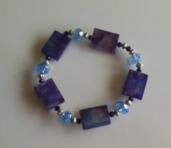 Purple Polished Shell & Glass Bead Stretch Bracelet - $15.99