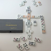 Cardinal Double Six Dominoes Gray Plastic Case 28 Color Dot Vintage - $13.06