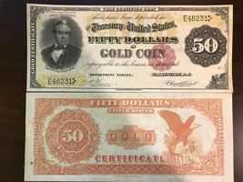 Reproduction $50 Bill Gold Certificate 1882 Silas Wright US Currency Paper Money - $2.96