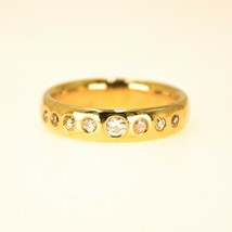 18k Gold Mens Diamond band ring UK Size R BHS - $1,352.51