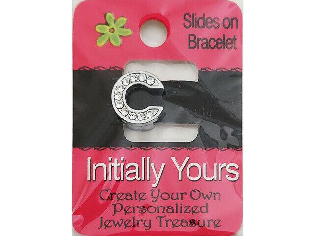 Initially Yours Rhinestone Letter Bracelet Slide, Letter C