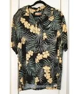 Havana Jack's Cafe Men's Shirt Floral Black Gold Green LARGE Hawaii Aloha - $14.95