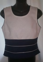 My Michelle Navy & White Women's Tank Top Size 9-10 NWOT Button Up Back - $4.99