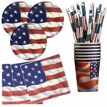 4th of July Independence Day Decorations Disposable Tableware Set Party ... - $6.57+