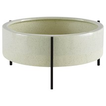 Ceramic Planter Iron Shelf Stand Two Tone Rounded Stoneware Green Plant ... - $102.61 CAD