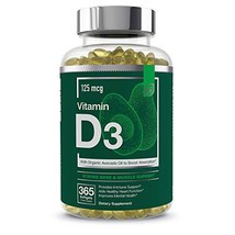 Vitamin D3 5000 IU Softgels with Organic Avocado Oil to Boost Absorption - Essen
