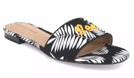 Who What Wear Women's Sloane Black & White Palm Slide Sandals See Ya New w Tags image 2