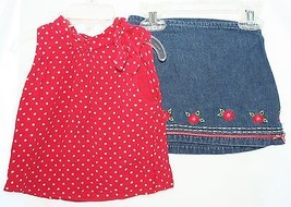 The Children's Place and Koala Kids Outfit Red Polka Dot Shirt Denim Ski... - $8.90