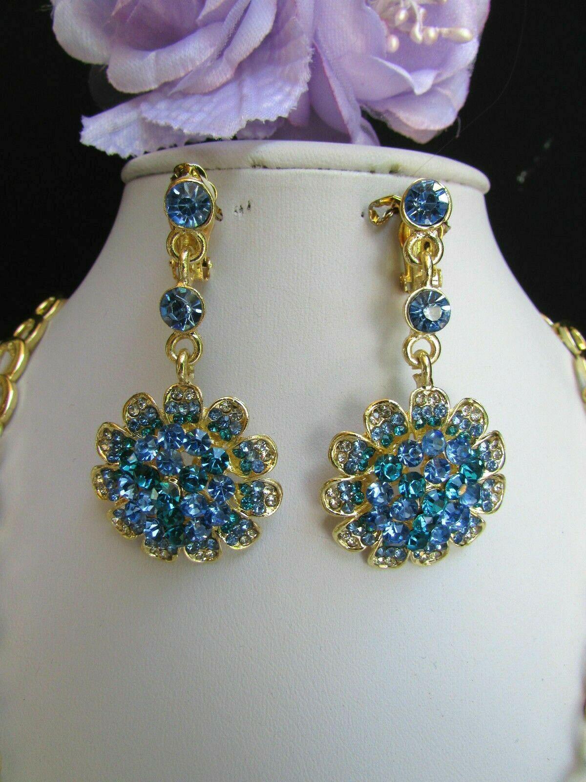 Nuevo Mujer Grande Dorado Flor Tendencia Jewelry Azul Diamantes Collar image 4