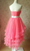 MELON RED Strapless Sweetheart Neck Hi-lo Tiered Tutu Skirt Bridesmaid Dress Cut image 4