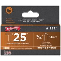 "Arrow 259 T25 Round Crown Staples, 9/16""; 1,000 pk - $23.43"