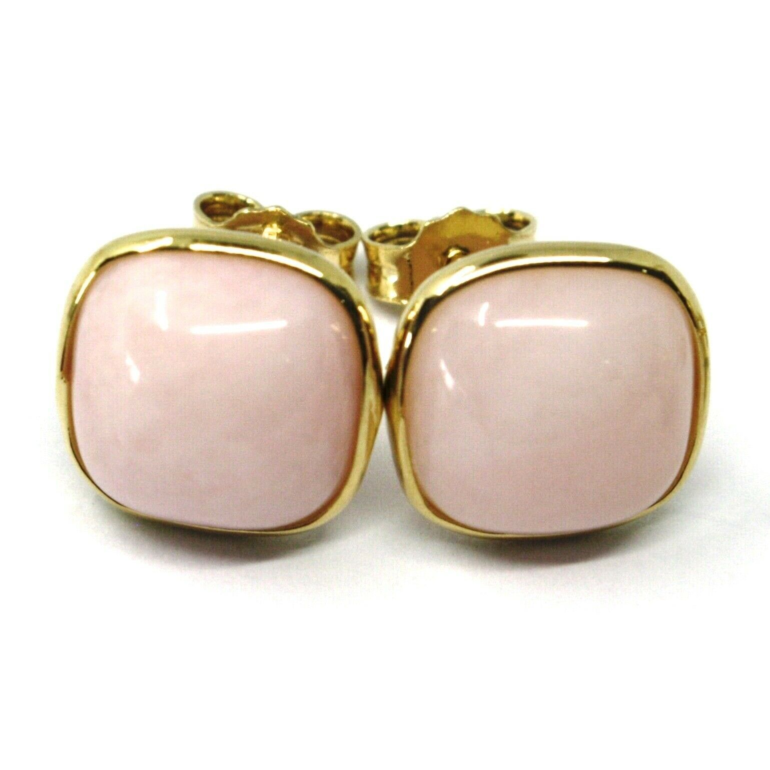 18K YELLOW GOLD BUTTON LOBE EARRINGS, CABOCHON SQUARE PINK OPAL DIAMETER 10mm