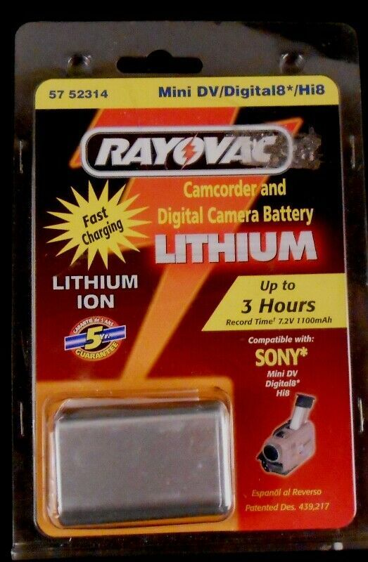 Rayovac 57 52314 Mini DV/Digital 8*/Hi8 Lithium Ion Camcorder & Camera Battery