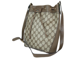 Auth GUCCI GG Web PVC Canvas Leather Browns Drawstring Shoulder Bag GS2128 - $319.00