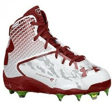 UA Under Armour Deception Mid Baseball Cleats, Men's 15 Maroon White NWT - $22.99