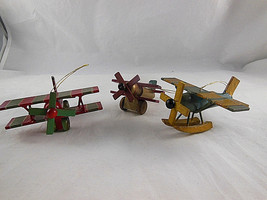 "Vintage Wooden Christmas Ornament Airplanes Biplane Aprox. 3"" - $9.69"