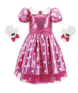 NWT Disney Store Girls Minnie Mouse Costume Pink Dress with Gloves Brooc... - $49.99
