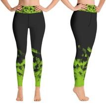 Green on Black Workout Leggings for Women Butt Lift Yoga Pants for Women... - $39.99+