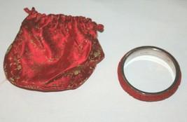 BJ 925 Chinese Sterling Silver Carved Cinnabar Bangle Cuff Bracelet Vintage - $48.51