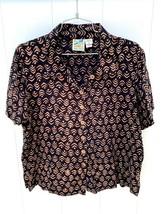 TRAVEL SMITH WOMEN'S RAYON Brown Black  BATIK Geometric SS  BLOUSE, L EUC - $22.50
