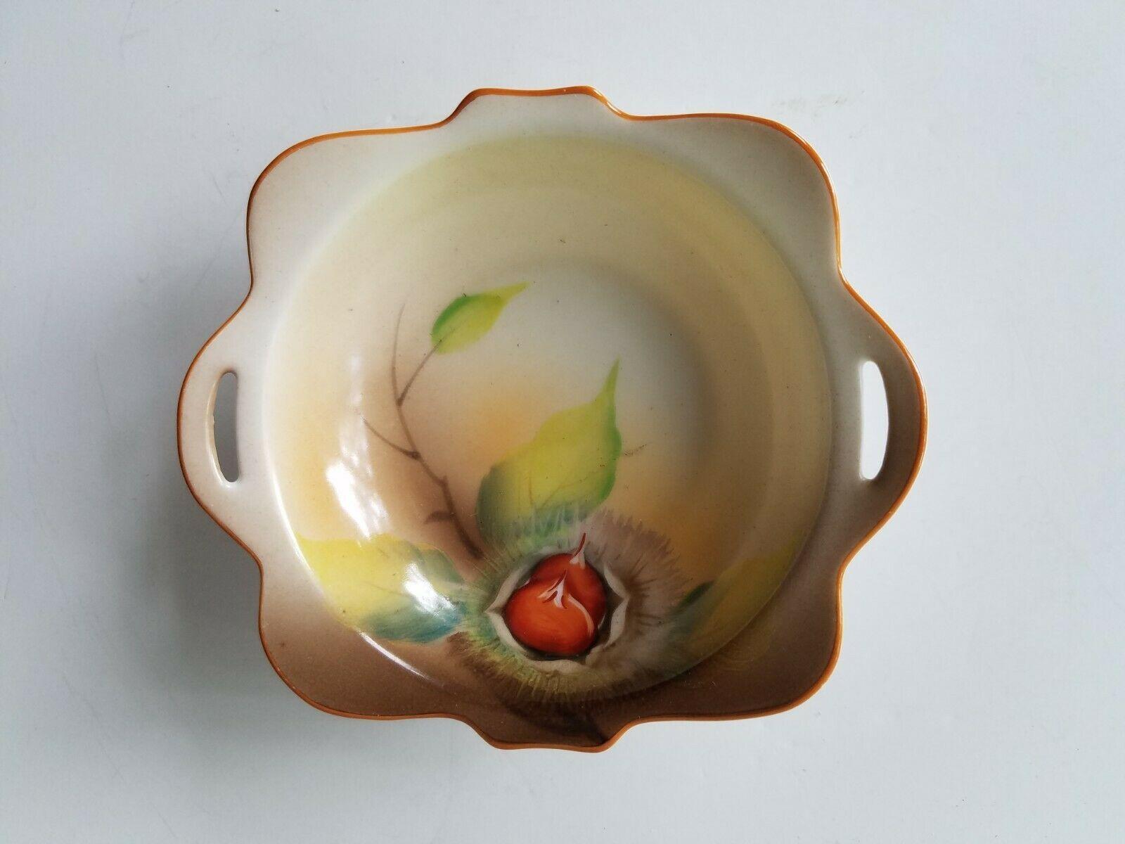 "Noritake Square Nut Dish Red M Morimuras Backstamp Pierced Tab Handles 4""x4""  - $14.95"