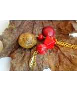 Earthen Alchemist necklace: touches of golden, earthen reds, & natural s... - $32.00