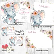 Elephant Baby Shower Floral Pink Invitation Set Diaper raffle book inser... - $1.75+