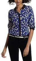 Anthropologie Maeve Women's Sz 2 Bagatelle Button Down Blouse Penguin Pr... - $37.39