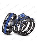 His & Her Wedding Ring Set 14k Black Gold FN Princess Blue Sapphire & Free Gift - $225.99