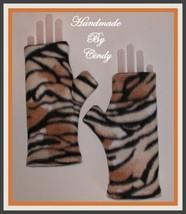 Tiger Fingerless Gloves Khaki Caramel Cream Black Double Layer Tan - $16.00