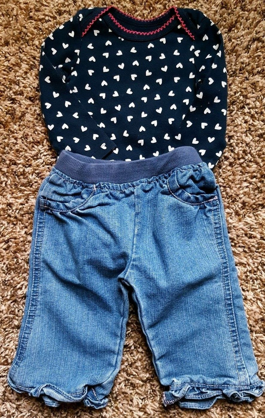 Girl's Size 6 M 3-6 Months 2 Piece Navy Heart L/S Old Navy Top & Circo Jeans