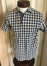 Tommy Hilfiger White Gray Checkered Pigment Dyed Polo Men's M - $14.80
