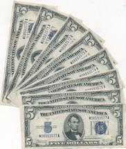 1934C $5 FIVE DOLLAR SILVER CERTIFICATES-8 CONSEC. SERIAL #'S! CRISP-FRE... - $399.95