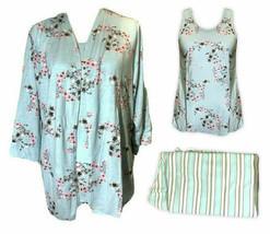 3 Piece Claudel Women's Aqua Floral Adaptive Loungewear Sleep Set, XX-Large - £31.85 GBP