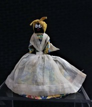 VINTAGE SMALL BELL OF AFRICAN AMERICAN WITH YELLOW DRESS AND IVORY APRON - $10.99