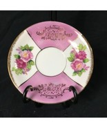 """Vintage Saucer Pink Roses Floral Green Leaves Gold Accent Paint 5-5/8"""" Diameter - $18.80"""