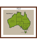 Cross Stitch Pattern Map of Australia, Australia Cross Stitch Chart PDF Download - $3.32