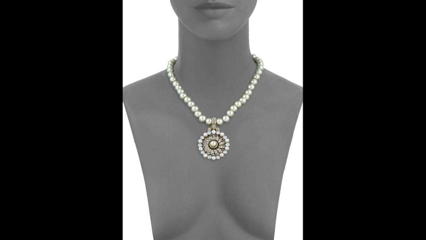 Heidi Daus Faux Pearl Pinwheeled Swarovski Crystals Bronze tone Necklace image 3