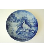 Vintage 1973 Berlin Design Mothers Day Duck Family Cobalt Blue China Plate - $14.50