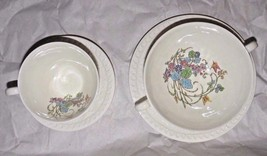 4 pc Vintage Wedgwood White Embossed Floral Teacup Soup Bowl & Saucers 9... - $34.16