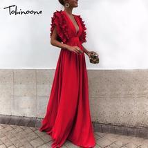 Tobinoone Elegant Deep V Neck Women Long Dresses Ruffles High Waist Soli... - $45.11
