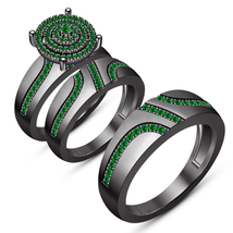 Green Sapphire Wedding Band Engagement Ring Trio Set Black Gold Over 925... - $179.99