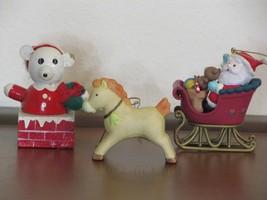 Set Of Three Christmas Ornaments Homco Horse Fun Farm Santa in Sleigh - $9.99