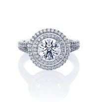 Double Halo Engagement Ring Round Cut Diamond 14k White Gold Plated 925 ... - $111.84 CAD