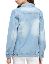 Women's Classic Casual Cotton Lightweight Distressed Denim Button Up Jean Jacket image 5