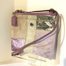 Vintage Rare Coach Signature Patchwork Lilac Silver Crossbody Leather Trim 42519 - $98.01