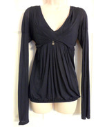 LIU-JO JEANS WOMEN'S NAVY BLUE V NECK BLOUSE SHEER SLEEVES SIZE MEDIUM - $17.62