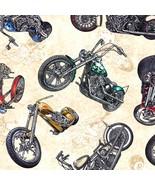 Easy Rider Motorcycles on Cream B/G-Quilting Treasures-Fat Quarter - $3.25